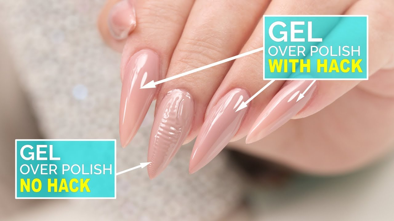 How To Gel Over Polish No Wrinkles Youtube