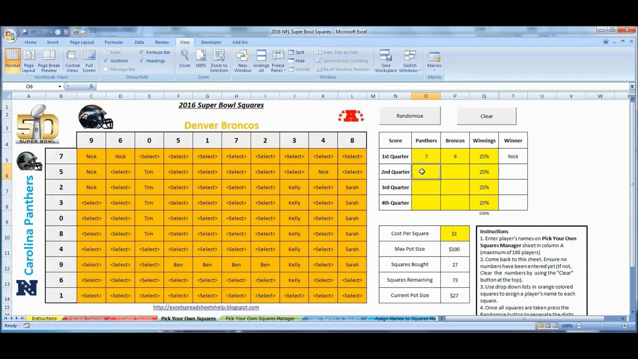 Super Bowl Squares 2016 Excel Template for Office Pools - How to Use ...