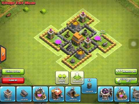 Clash of clans th5 hybrid clan war base anti giant youtube