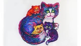 Уроки рисования. Как нарисовать КОШКУ с котятами неоновой гуашью | Art School