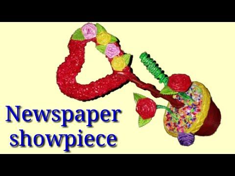 #newspapercraft #diyshowpiece Newspaper Heart showpiece