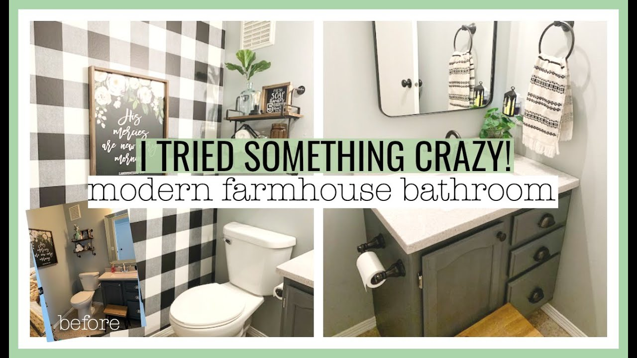 I Tried Something Crazy Diy Modern Farmhouse Bathroom Makeover On A Budget Youtube