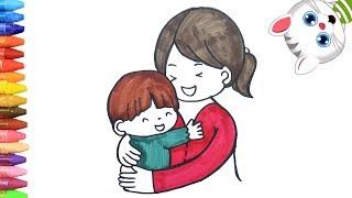 Anne ve çocuk nasıl çizilir nasıl boyanır  MiMi ile Çocuklar için Resim Çizme ve Boyama