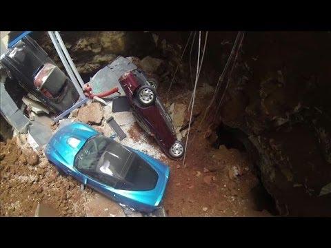 Drone Footage from Inside Corvette Museum Sinkhole