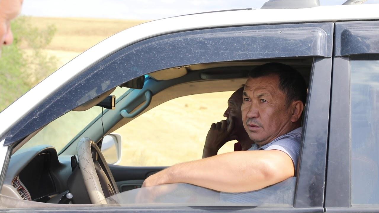 Инспектор Алматинской областной охранной инспекции просит водителя открыть багажник для досмотра.