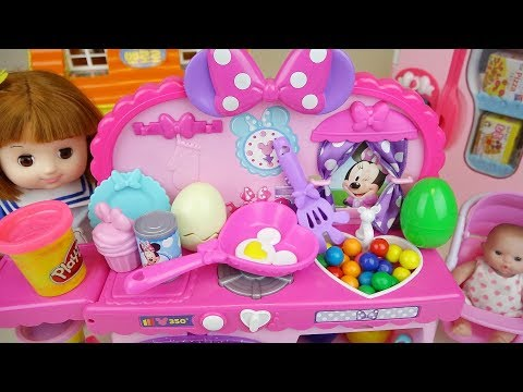 Baby doll and play doh kitchen food...