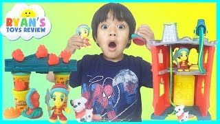 PLAY DOH TOWN FIREHOUSE Toys for kids Playdough video Ryan ToysReview