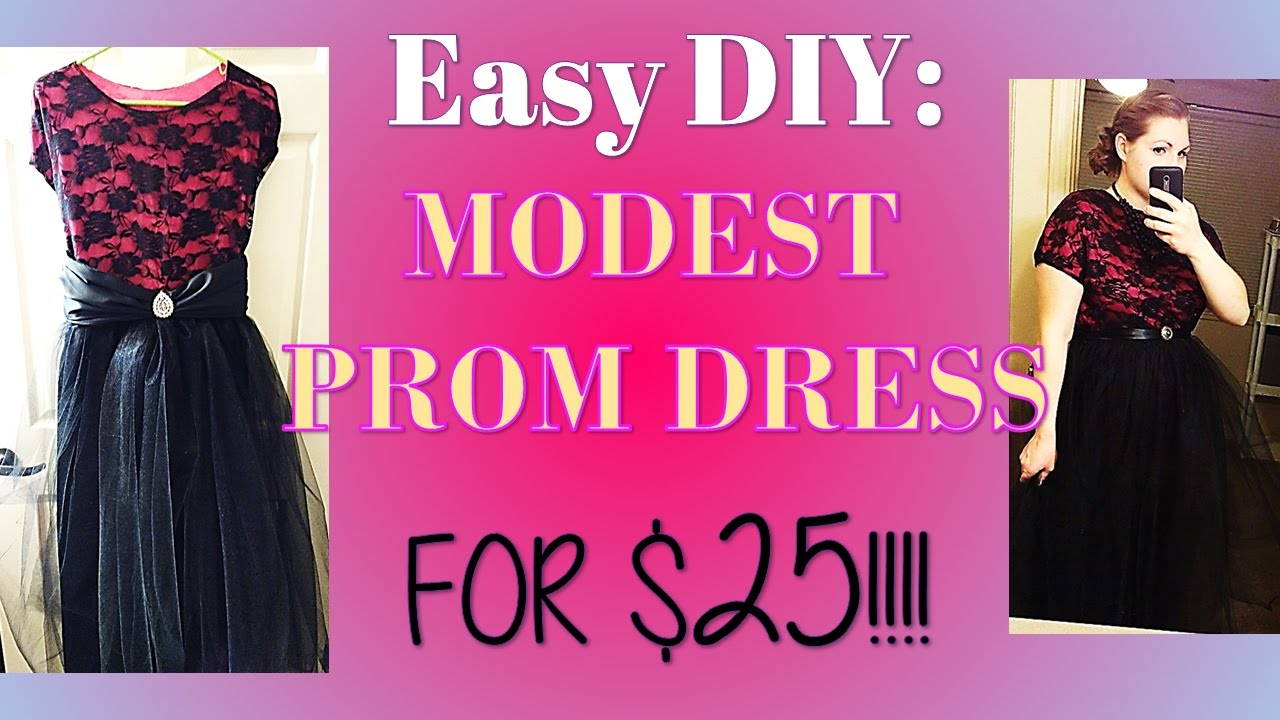 Easy DIY: MODEST Prom Dress for $25! (with sleeves) - YouTube