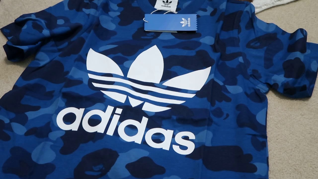 wholesale dealer 8e02d ade04 Bape x Adidas Adicolor Tee Blue Pickup/Unboxing