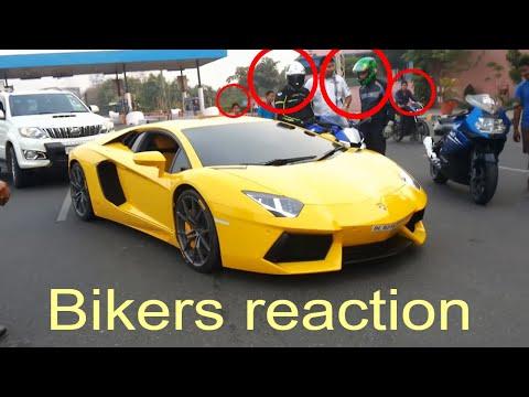 2 bikers reaction Lamborghini aventedor Supercar in delhi 2018