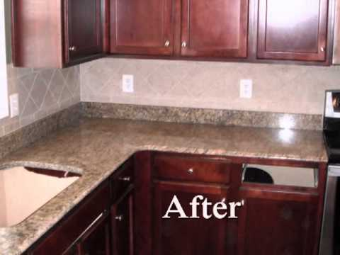 New Venetian Gold Granite Countertop  Charlotte NC On Red Cabinets Ogee  Edge 4 10 12   YouTube