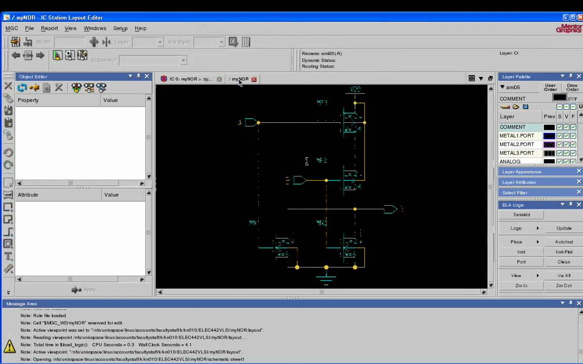 VLSI Tutorial 5: Schematic driven layout of a NOR2 gate using Mentor ...