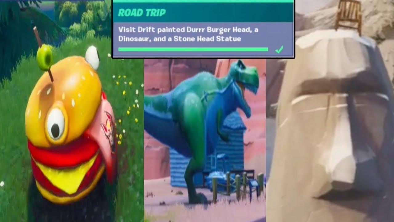 Visit Drift Painted Durrr Burger Head A Dinosaur And A Stone Head Statue Fortnite Season X