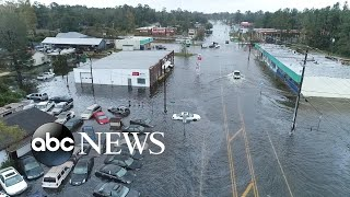 View of the damage from Hurricane Florence from above