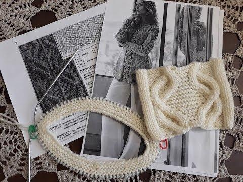 Пуловер аранами спицами схема