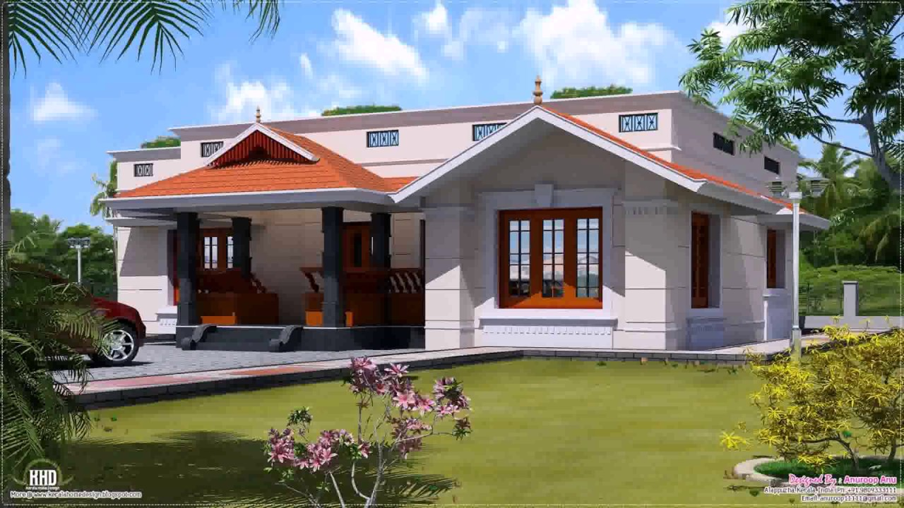 Kerala style house plans single floor youtube for Single house front design