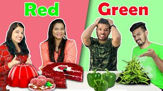 RED Vs GREEN Food Eating Challenge  Red Vs GREEN Food Eating Competition  Hungry Birds