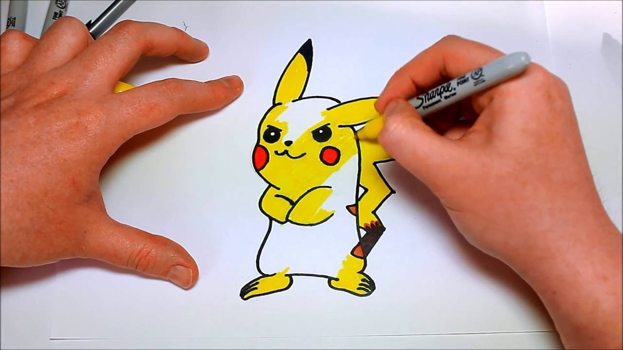 Easy How To Draw Cartoon Pokemon Pikachu For Kids Gotta Draw Them All Youtube