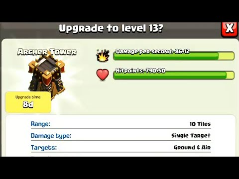Clash Of Clans - Buying All Archer Tower 13 Upgrades (Defense Replay)