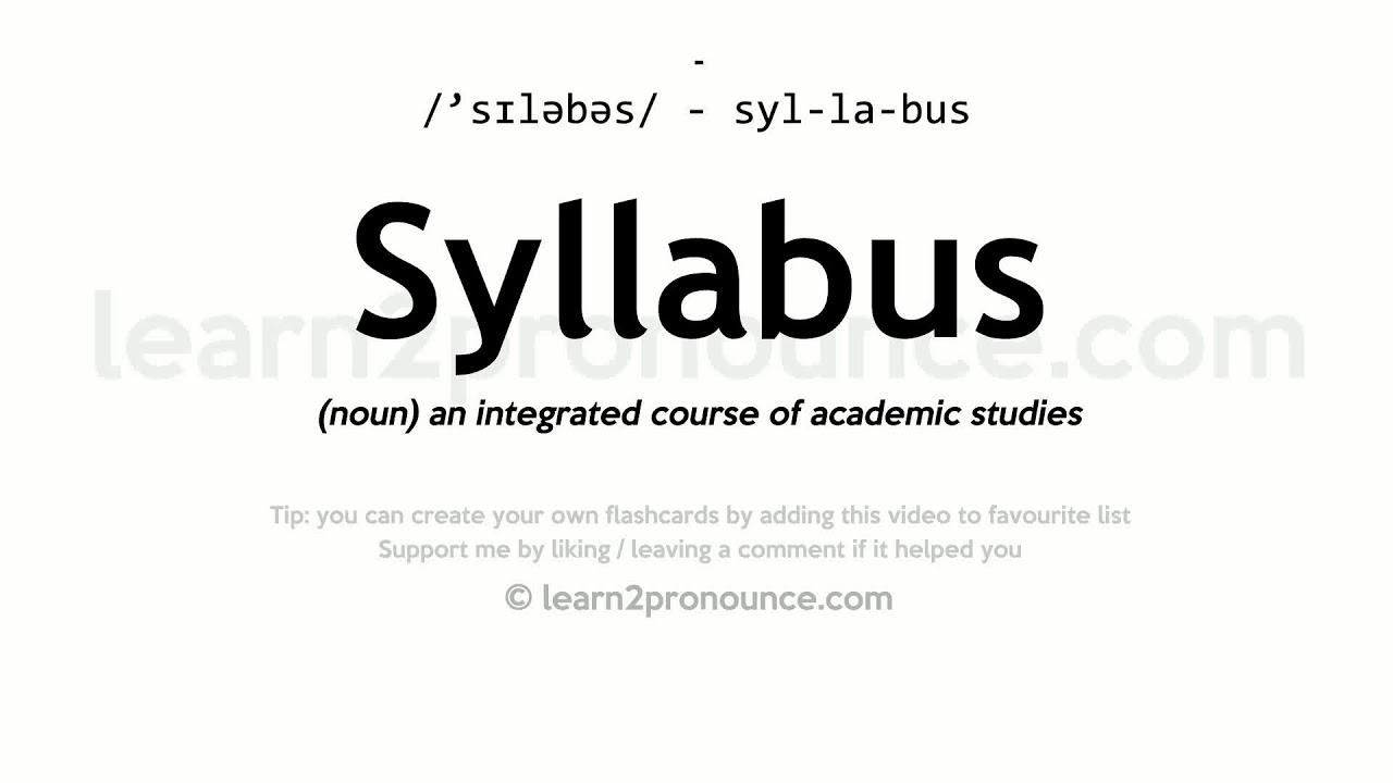 Syllabus pronunciation and definition