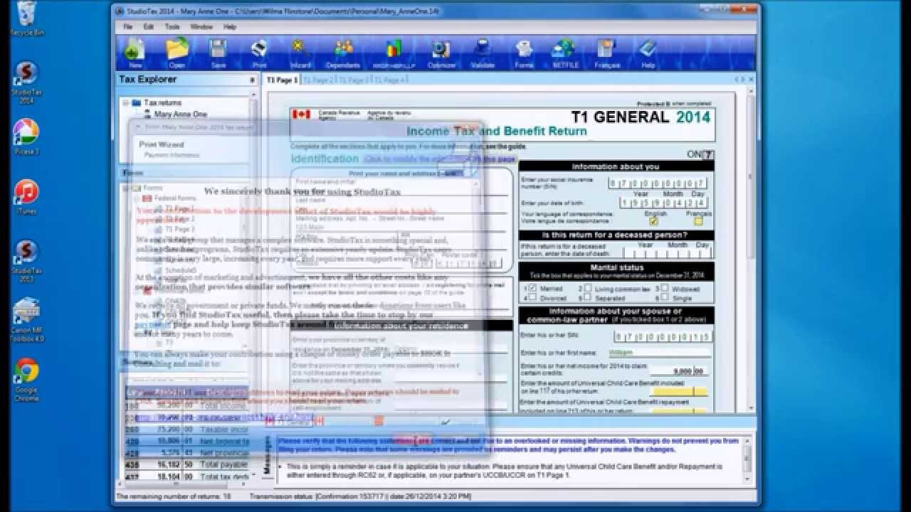 Tutorial Of Filing A Return Using StudioTax And Netfile
