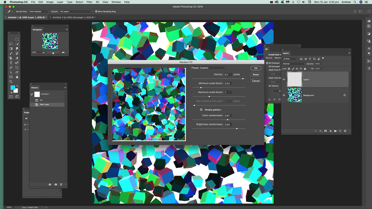 Random fill patterns in Photoshop tutorial