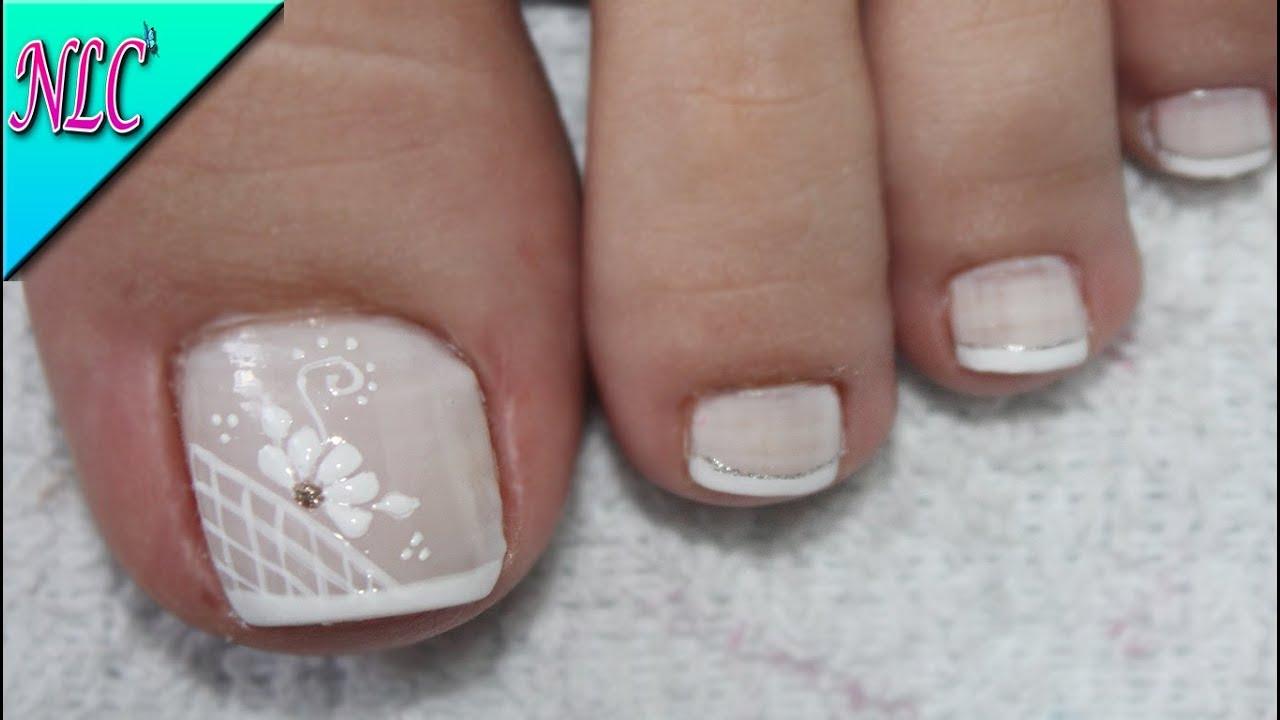 Diseño De Uñas Flor Y Francés Para Pies French Nail Art Flowers Nail Art Nlc