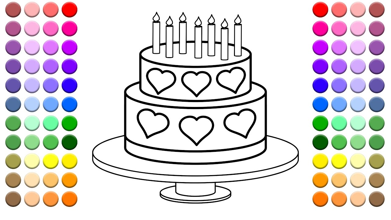 learn to color for kids and color this multi heart and layered birthday cake coloring page