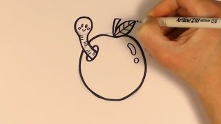 How to Draw a Cartoon Worm In An Apple