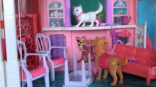 Видео с куклами, дом Барби, серия 494, собака Чаппи и кошка Блисса устроили погром в доме Барби
