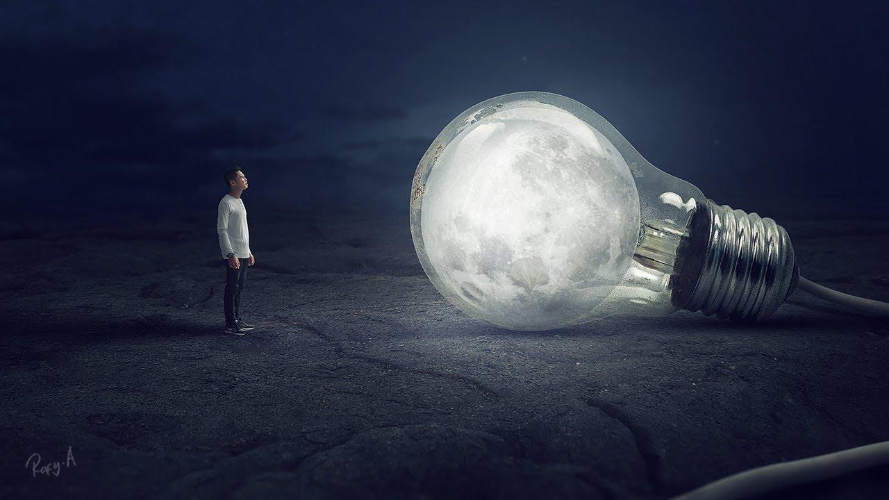 bulb moon  ufe0f photoshop manipulation tutorial processing