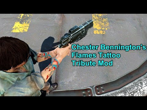 Fallout 4 - Chester Bennington's Flames Tattoo Tribute Mod