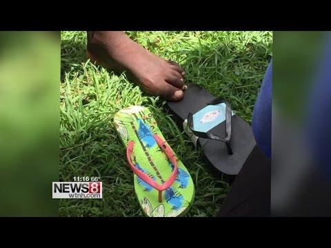 Flip Flops delivery help Haitian kids walk through harsh conditions