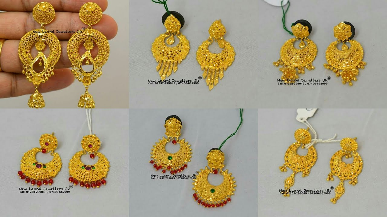 Pure Gold ChandBali Jhumka Designs - YouTube