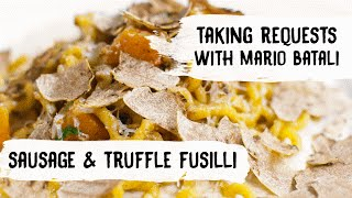 Mario Batali Cooks Pasta with Sausage, Butternut Squash and Truffles