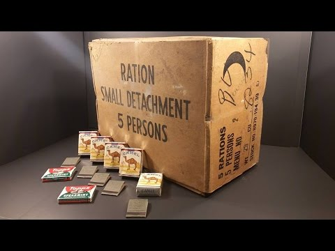 1957 5 in 1 Man MRE 24 Hr Ration 20,000 Calorie Meal Ready to Eat Test Oldest Cigarette Food Review