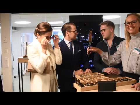 Crown Princess Mary and Prince Daniel try on glasses.