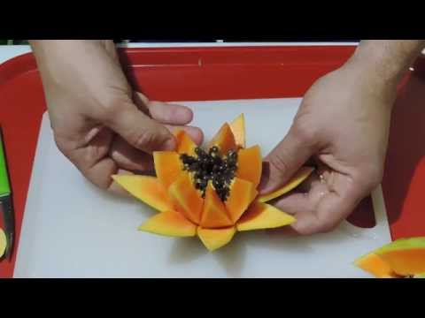 HOW TO MAKE A BEAUTIFUL FLOWER WITH PAPAIA - By J.Pereira Art Carving Fruits and Vegetables