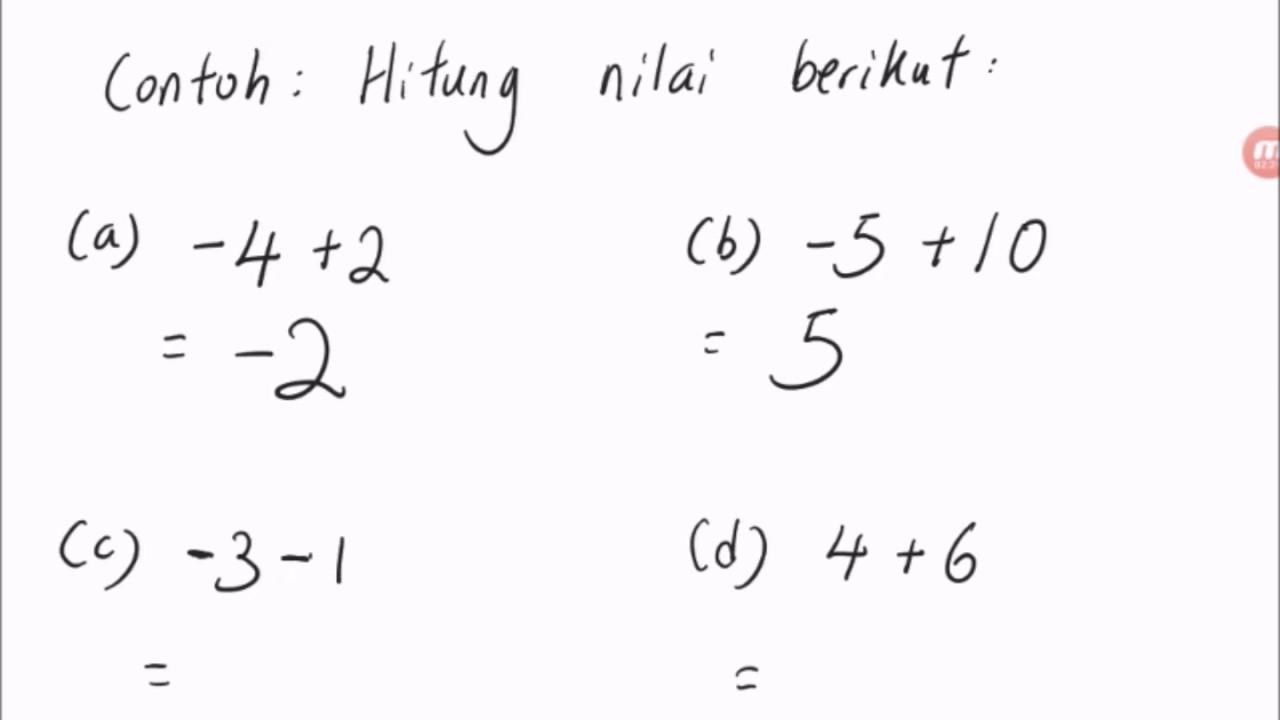 Bab 1 Matematik Tingkatan 1 Kaedah Penambahan Dan Penolakan Nombor Integer Youtube