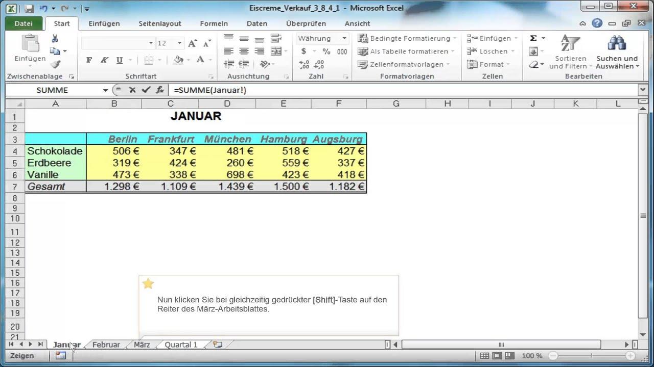 Excel-Tabellen verbinden - 3-D Kalkulationen - YouTube