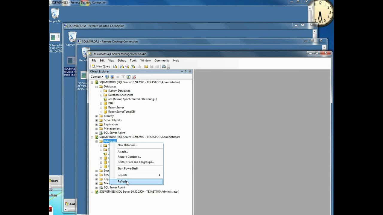 Install a service pack on a SQL Server 2008 R2 mirror