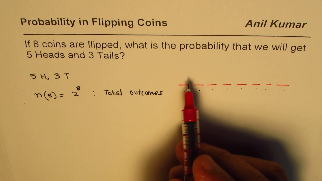 Probability of Exactly 5 Heads in 8 Coins Flip