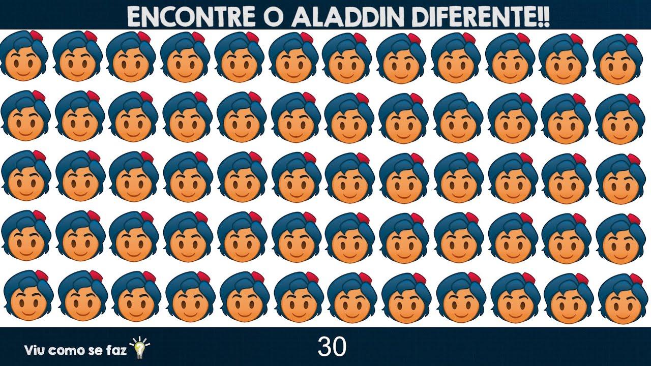 JOGO DO ALADDIN DISNEY - ENCONTRE O PERSONAGEM DIFERENTE DE ALADDIN - EMOJI DIFERENTE DE ALADDIN