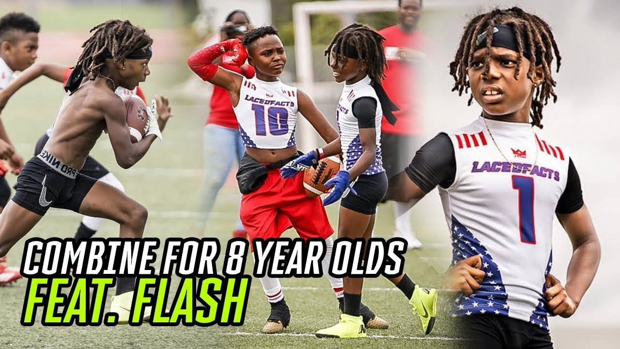 This 8 Year Old Football Combine Was INSANE! Flash Balls Out & Female Lineman DOMINATES The Boys