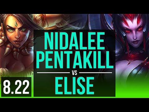NIDALEE vs ELISE (JUNGLE) | Pentakill, KDA 24/1/3, Legendary | Korea Challenger | v8.22