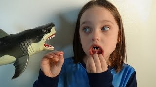 "Shark Attacks Annabelle Knocks Her Tooth Out ""Toy Freaks Tooth Fairy Sharks"""