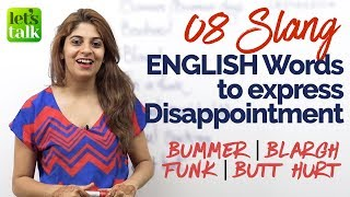 Learn 8 Slang English Words to express disappointment | English speaking Practice Lesson