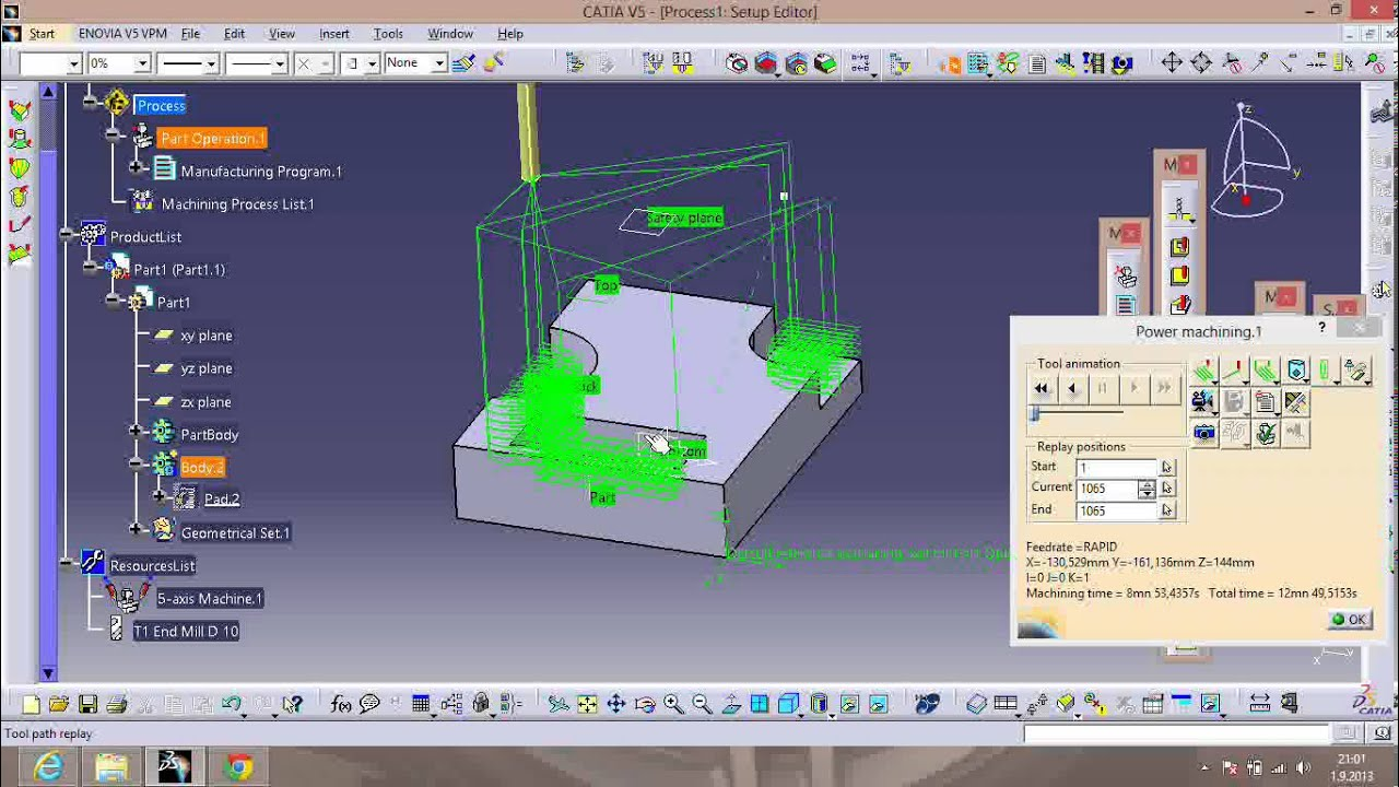CATIA-V5 3-axis power machining & nc code - YouTube