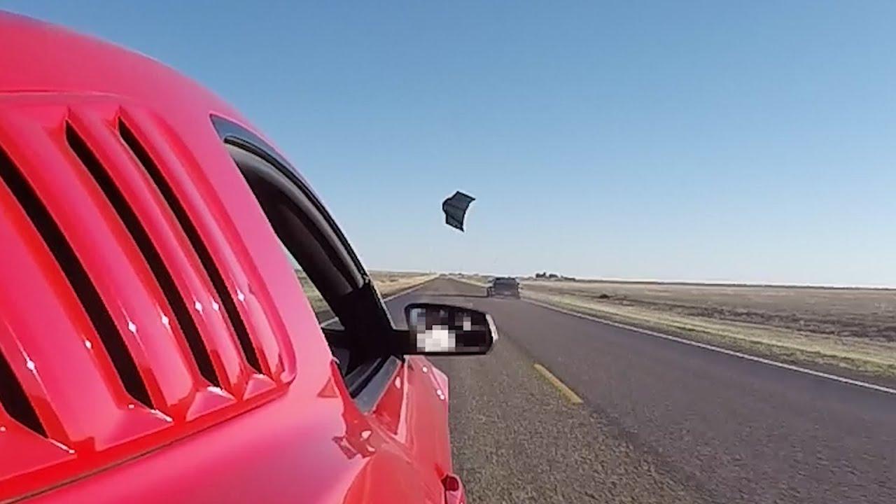 Trans-Am hood FLIES OFF in street race! - YouTube