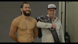 Jorge Masvidal Lets His Father Hold The BMF Belt First.